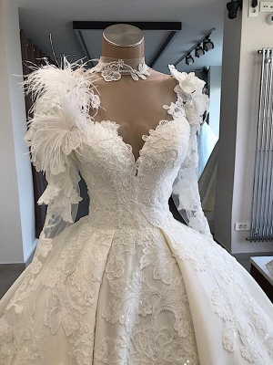 Modern wedding dress with sleeves | Princess wedding dress with feathers_3