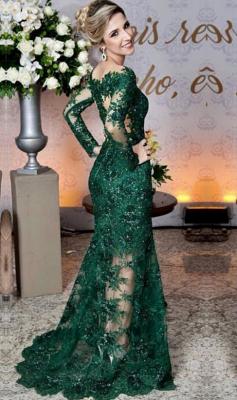 Grüne Abendkleider Mit Ärmel | Spitze Abendmoden Online_2