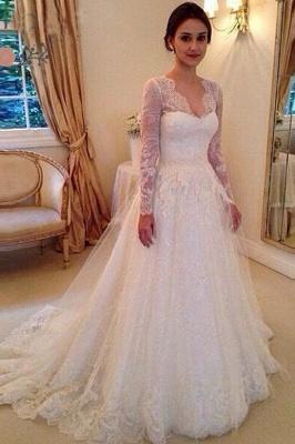 Modest Brautkleider Mit Spitzen Ärmel | Hochzeistkleider A Linie Online_1