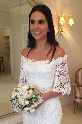 Weiße Schlichtes Brautkleid Spitze Mit Ärmel Meerjungfrau Hochzeitskleider Günstig_2