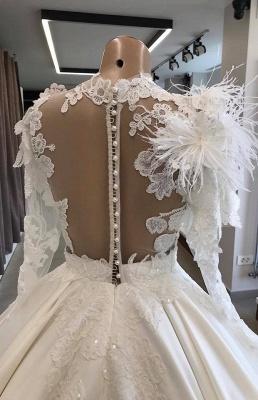 Modern Brautkleid Mit Ärmel | Prinzessin Hochzeitskleid Mit Federn_4