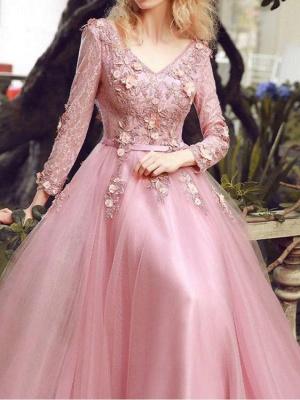 Elegant Rosa Abendkleider Spitze Mit Ärmel Tüll Abiballkleider Abendmoden Online_4