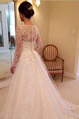 Modest Brautkleider Mit Spitzen Ärmel | Hochzeistkleider A Linie Online_2
