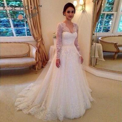 Modest Brautkleider Mit Spitzen Ärmel | Hochzeistkleider A Linie Online_3