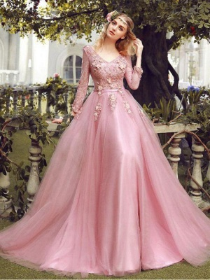 Elegant Pink Evening Dresses Lace With Sleeves Tulle Prom Dresses Evening Wear Online_1