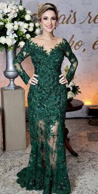 Grüne Abendkleider Mit Ärmel | Spitze Abendmoden Online_1