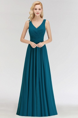 Dark Green Chiffon Bridesmaid Dresses Long Cheap Bridesmaid Dresses_1