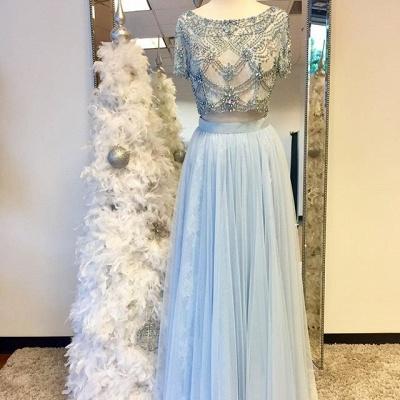 White Two Piece Evening Dresses Long Light Blue Beaded Sheath Dresses Evening Wear Kafuen Online_3