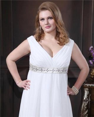 Brautkleider Standesamt Große Größen Weiß Chiffon Träger Übergröße Hochzeitskleider_2