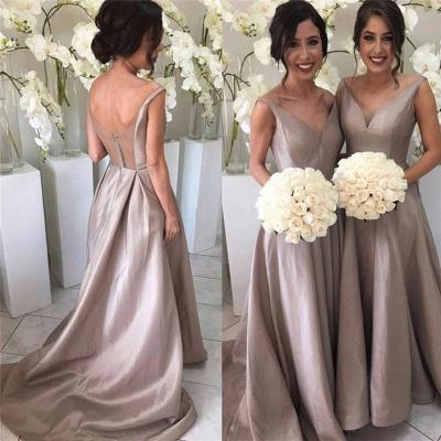 Bridal Long Bridesmaid Dresses Cheap Straps A Line Dresses For Bridesmaids_2