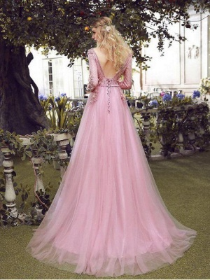 Elegant Pink Evening Dresses Lace With Sleeves Tulle Prom Dresses Evening Wear Online_2