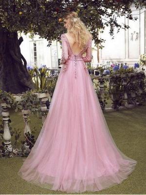 Elegant Rosa Abendkleider Spitze Mit Ärmel Tüll Abiballkleider Abendmoden Online_2