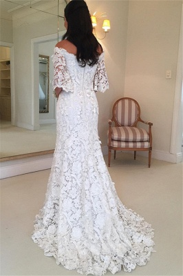 Weiße Schlichtes Brautkleid Spitze Mit Ärmel Meerjungfrau Hochzeitskleider Günstig_3