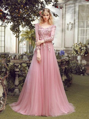 Elegant Pink Evening Dresses Lace With Sleeves Tulle Prom Dresses Evening Wear Online_3