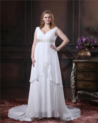Brautkleider Standesamt Große Größen Weiß Chiffon Träger Übergröße Hochzeitskleider_5