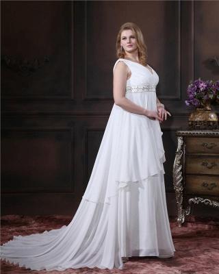 Brautkleider Standesamt Große Größen Weiß Chiffon Träger Übergröße Hochzeitskleider_3