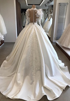 Modern wedding dress with sleeves | Princess wedding dress with feathers_2