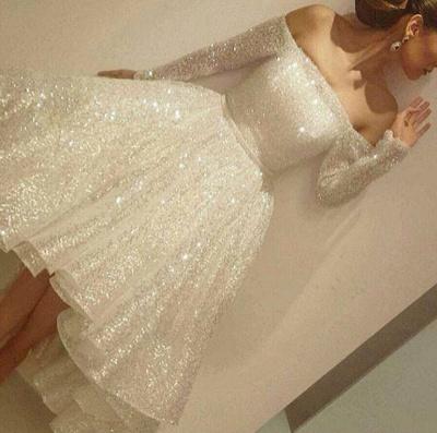 White Evening Dresses Sequins Short Long Evening Wear Cheap Online_2