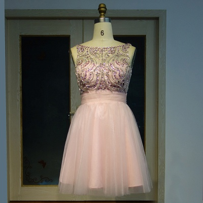 Pink Cocktail Dresses Short Beaded A Line Tulle Evening Dresses Prom Dresses_4
