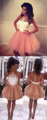 White Pink Cocktail Dresses Short Straps A Line Prom Dresses Party Dresses_4