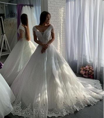 Designer wedding dresses A line | Elegant wedding dresses with lace_4