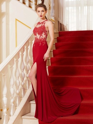 Elegant Chiffon Evening Dresses Long Red Jewel Sheath Dress Prom Dresses Cheap_1