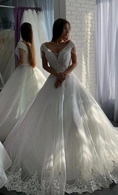 Designer wedding dresses A line | Elegant wedding dresses with lace_1