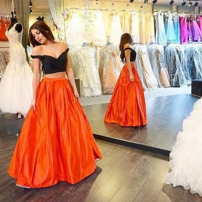 Orange Schwarz Abschlussballkleider Lang Taft Abendmoden Abiballkleider_2