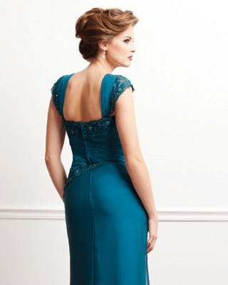 Turquoise Long Mother of the Bride Dresses Lace Straps Chiffon Dresses for Mother of the Bride_2
