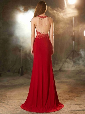 Elegant Chiffon Evening Dresses Long Red Jewel Sheath Dress Prom Dresses Cheap_3