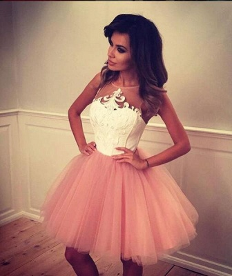 White Pink Cocktail Dresses Short Straps A Line Prom Dresses Party Dresses_2