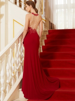Elegant Chiffon Evening Dresses Long Red Jewel Sheath Dress Prom Dresses Cheap_2