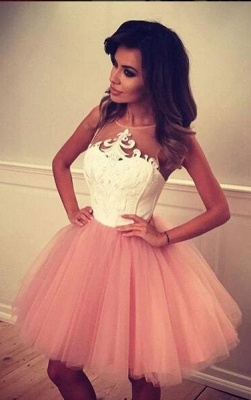 White Pink Cocktail Dresses Short Straps A Line Prom Dresses Party Dresses_1