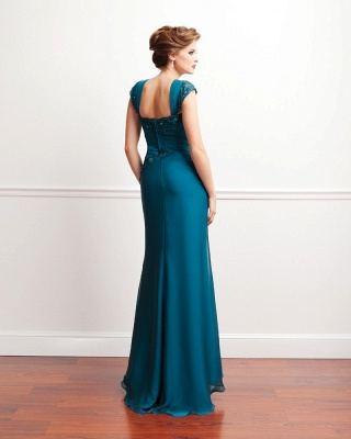 Turquoise Long Mother of the Bride Dresses Lace Straps Chiffon Dresses for Mother of the Bride_4