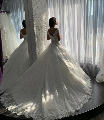 Designer wedding dresses A line | Elegant wedding dresses with lace_3
