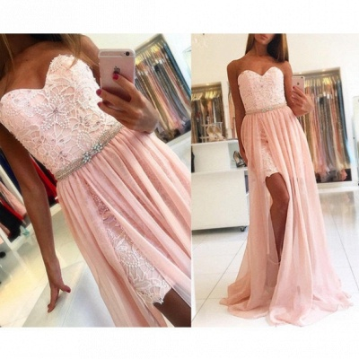 Pink evening dresses lace chiffon floor-length evening wear online cheap_2