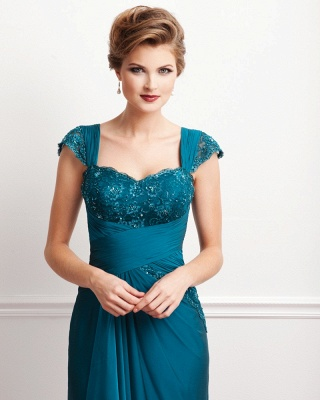 Turquoise Long Mother of the Bride Dresses Lace Straps Chiffon Dresses for Mother of the Bride_3