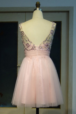 Pink Cocktail Dresses Short Beaded A Line Tulle Evening Dresses Prom Dresses_2