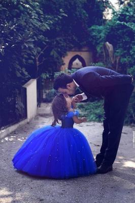 Blau Blumenmädchenkleider Lang Perlen Organza Kinder Kleider Für Blumenmädchen_2