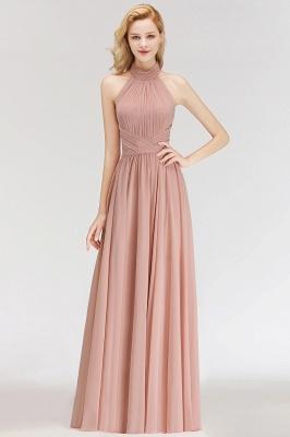 Modern Rosa Long Chiffon Brautjungfernkleider Etuikleid Kleider für Brautjunfern_1