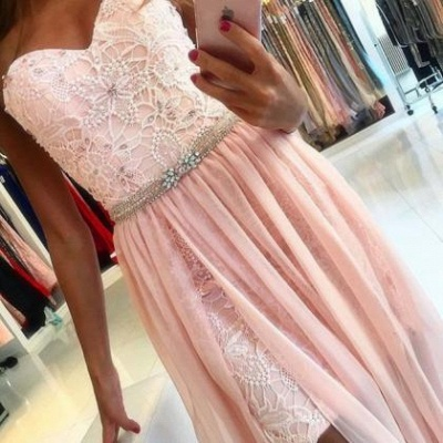 Pink evening dresses lace chiffon floor-length evening wear online cheap_3
