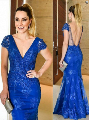 Cheap Evening Dresses Long Lace Blue With Sleeves Mermaid Evening Wear Prom Dresses_1