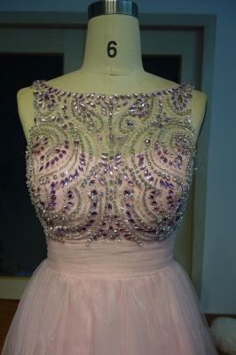 Pink Cocktail Dresses Short Beaded A Line Tulle Evening Dresses Prom Dresses_3