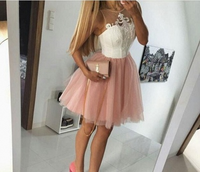 White Pink Cocktail Dresses Short Straps A Line Prom Dresses Party Dresses_3