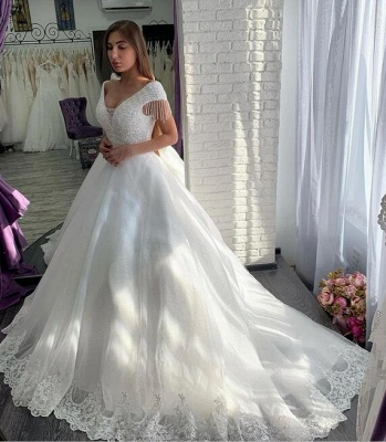 Designer wedding dresses A line | Elegant wedding dresses with lace_2