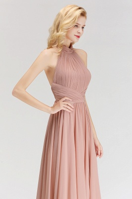 Modern Rosa Long Chiffon Brautjungfernkleider Etuikleid Kleider für Brautjunfern_4