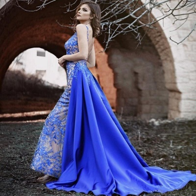 Royal Blue Evening Dresses Long Lace | Evening wear with lace_2