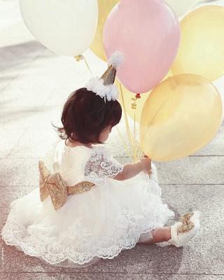 Süß Weiße Blumenmädchenkleider Tüll Spitze Kleider Für Blumen Kinder
