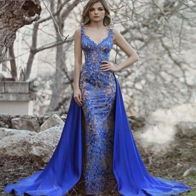 Royal Blue Evening Dresses Long Lace | Evening wear with lace_3