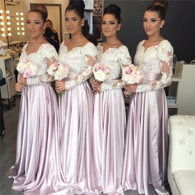 Long Sleeves Bridesmaid Dresses Lace Floor Length Bridesmaid Dresses Cheap_2